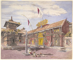 Temple of Devi & Deota-Ke-Mookan attached to the Tallajoo Temple, Kathmandoo. March 1857